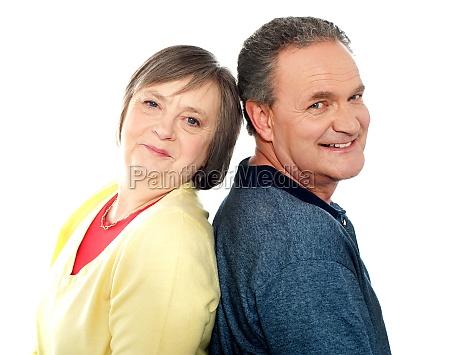 portrait of senior couple back to