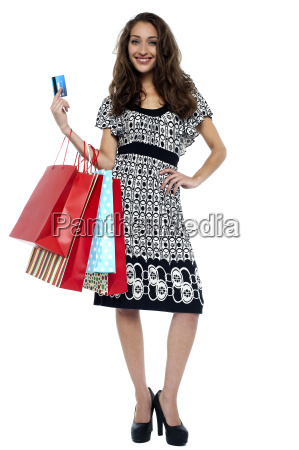 picture of lovely woman with shopping
