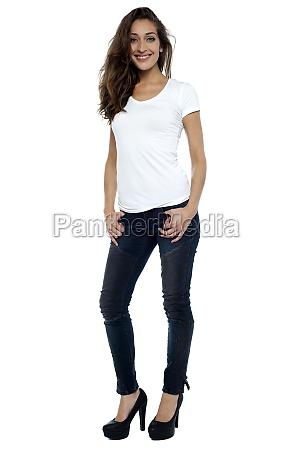 stylish model wearing stilettos and striking
