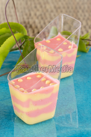 strawberry and passion fruit mousse on