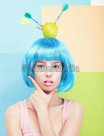 creativity woman with painted blue hairs