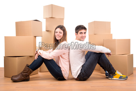 happy, couple, with, boxes - 11208242
