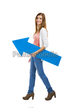 woman with a blue arrow