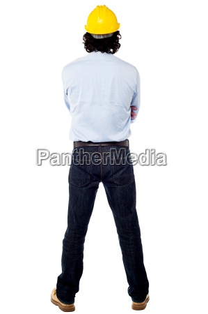 back pose of a engineer wearing