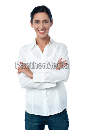 casual trendy woman posing smilingly