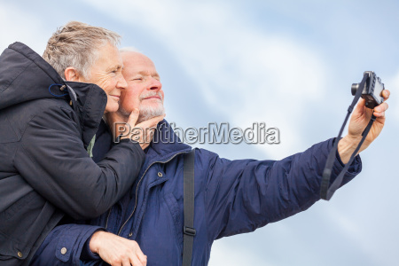 older adult couple seniors happy while
