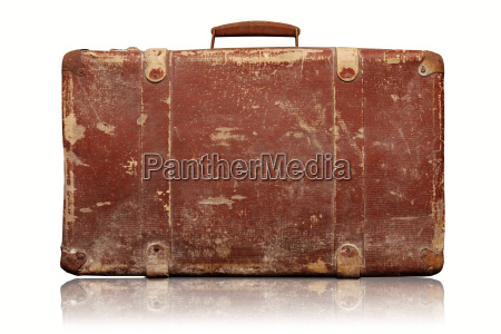 old vintage suitcase isolated on white