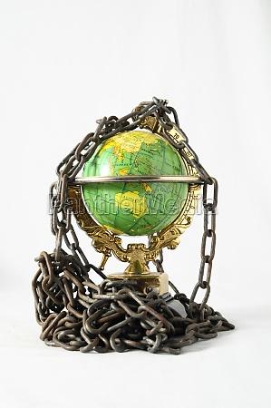 earth globe close in chain 3d