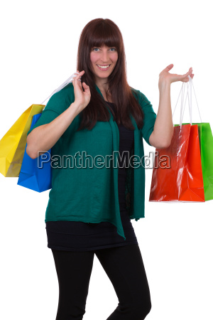 young woman with shopping bags has