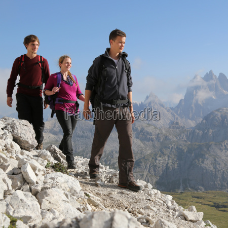 hike group of young people in
