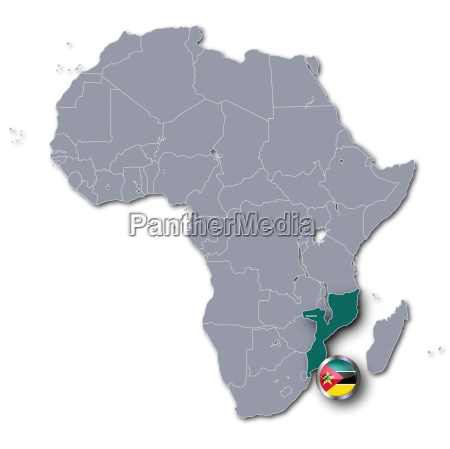 africa map with mozambique