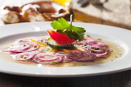 bavarian, sausage, salad, on, wood - 11256203