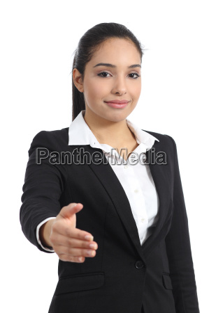 arab business woman ready to handshake