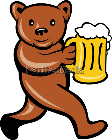 bear beer mug running side cartoon