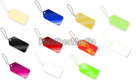 set of multi colored tag on