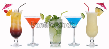 group of cocktails isolated