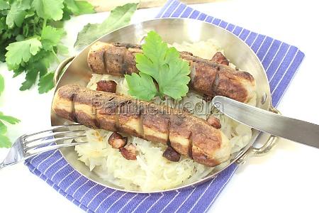 brawurst with sauerkraut and parsley