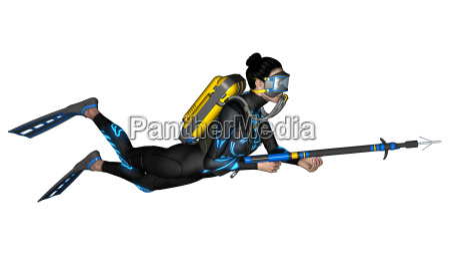 female diver with spear gun