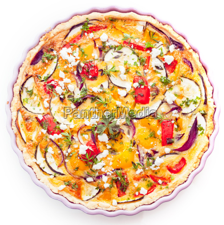 tasty vegetarian quiche with eggplant
