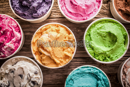 array of different flavored colorful ice