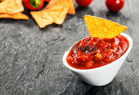 hot spicy salsa sauce with corn