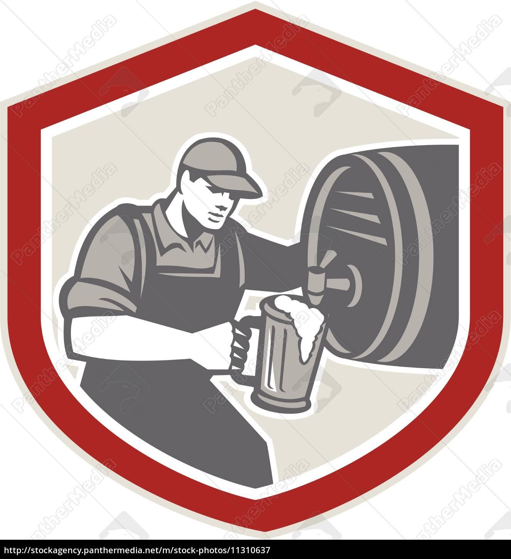 barman, pouring, beer, ale, barrel, retro - 11310637
