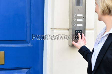 woman using security system