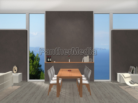dining room overlooking the sea