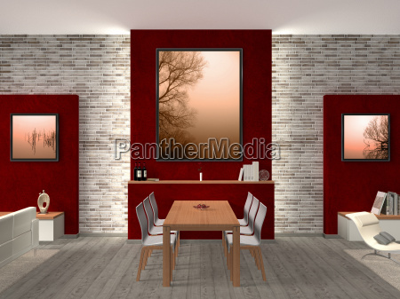dining room with pictures on how