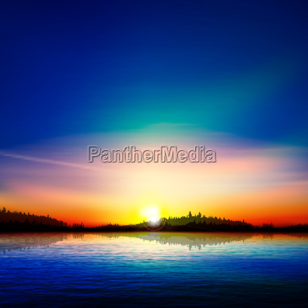 abstract nature background with forest lake