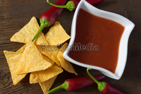 tortilla chips with fiery salsa dip