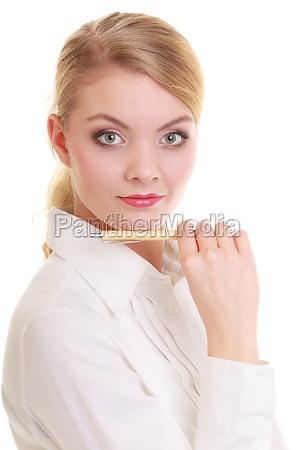 portrait businesswoman with pen elegant woman