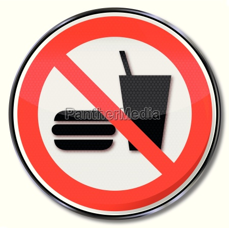 prohibition signs food and drink banned