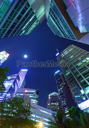 modern building in singapore from low