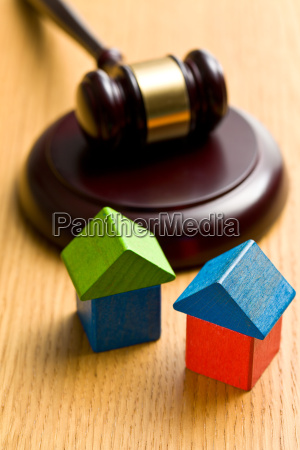 wooden house and judge gavel