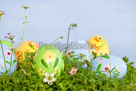 colorful easter eggs on meadow