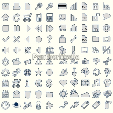 100 web icons in grey