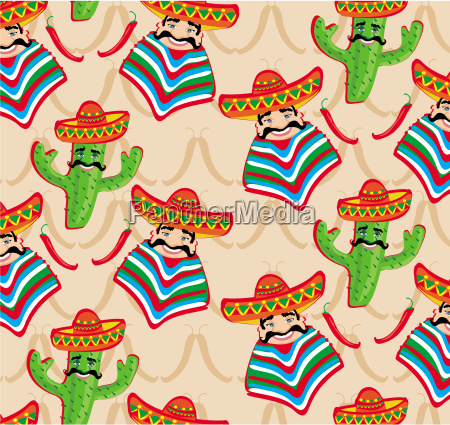 mexican pattern with cactus hat and