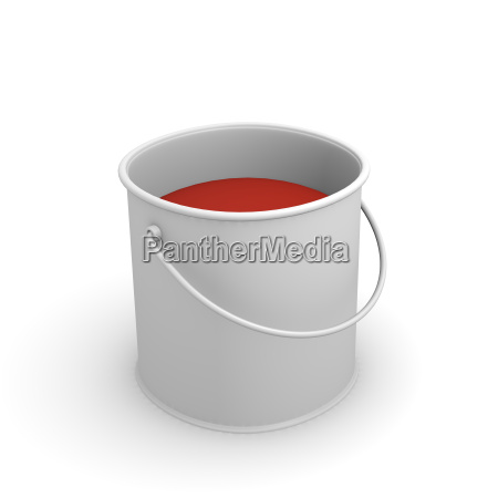 color can with red glossy paint