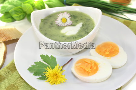 green, herbs, soup, with, eggs - 11368117