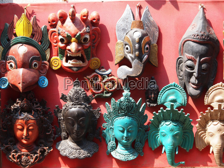 nepali masks on display in the
