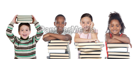 four funny children with many books
