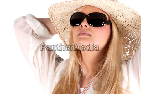 pretty woman with sunglasses and hat