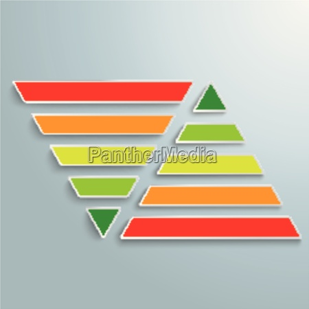 2 parallel colored pyramids infographic piad