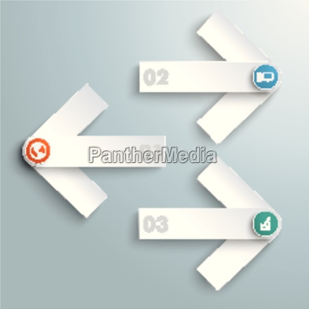 3 white arrows colored icons piad