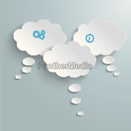 3 white paper clouds piad