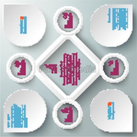 4 circles big rhombus startup infographic