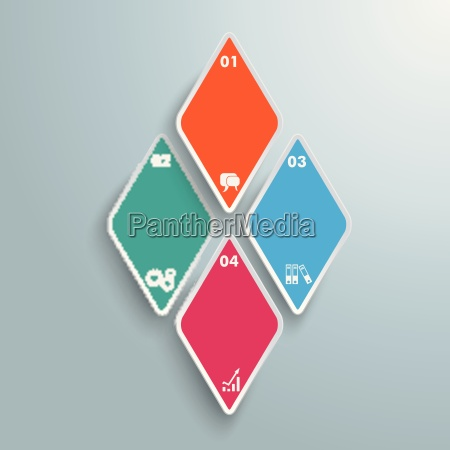 4 colored rhombus pieces infographic piad