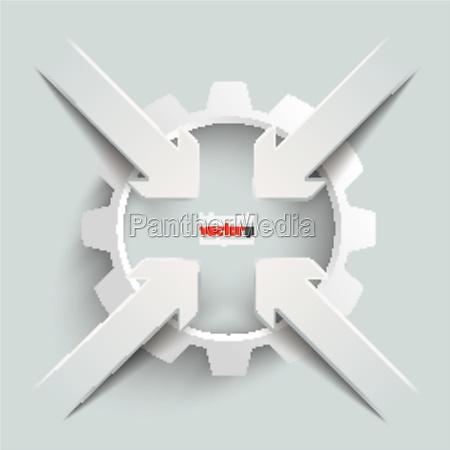 4 paper cut arrows gear centre