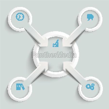 4 paper cut arrows ring centre